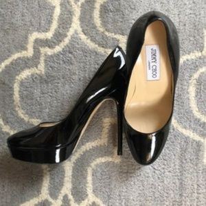 Jimmy Choo Black Patent Leather Round-toe Pumps